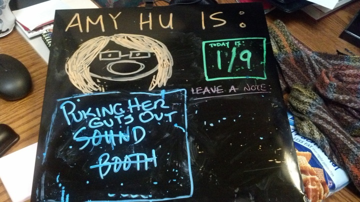 My blackboard updated, thanks to my hilarious coworker Glenn.