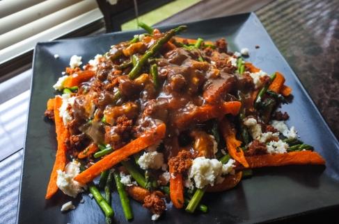 Mexican-style Sweet Potato + Asparagus Poutine