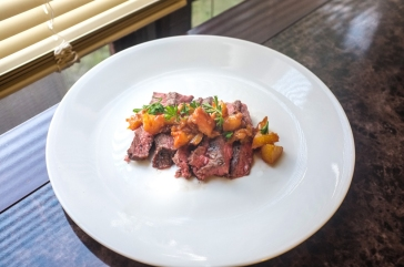 Flat Iron Steak + Peach-Bourbon Sauce