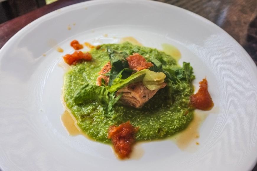 Pan-seared Salmon + Aspargus Puree + Grapefruit Gastrique