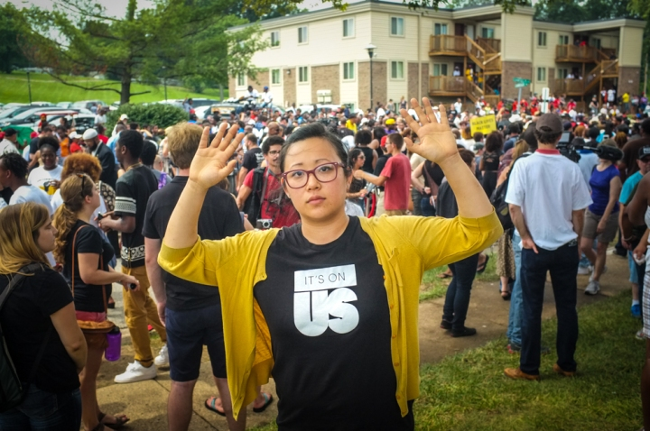 Me at a march in Ferguson, MO. Standing in solidarity as it was the one year anniversary of Michael Brown Jr.'s death.