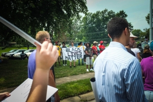 Marching at the one year anniversary of Michael Brown's death in Ferguson, MO.