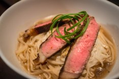 I tried to find the longest noodles I could to represent longevity, and New York Strip was on sale. So why not make a steak noodle soup? Yum.