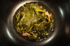 Long, leafy greens are important, especially in wishing your parents well. I decided to adapt it to my American identity and make Southern-style collard greens cooked down in bacon, ham, chicken broth, and onions for hours.