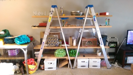 Ladder shelf! That's right, two sturdy ladders and the wood measured out to give you a cool and creative way to store things. Original price was $120, but I am willing to sell this for $50. And if you want, two ladders for $50 on its own is a great deal.