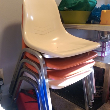 These 4 fun classroom chairs are easily stackable, and a great item to have in case of extra guests for parties and gatherings. $10!